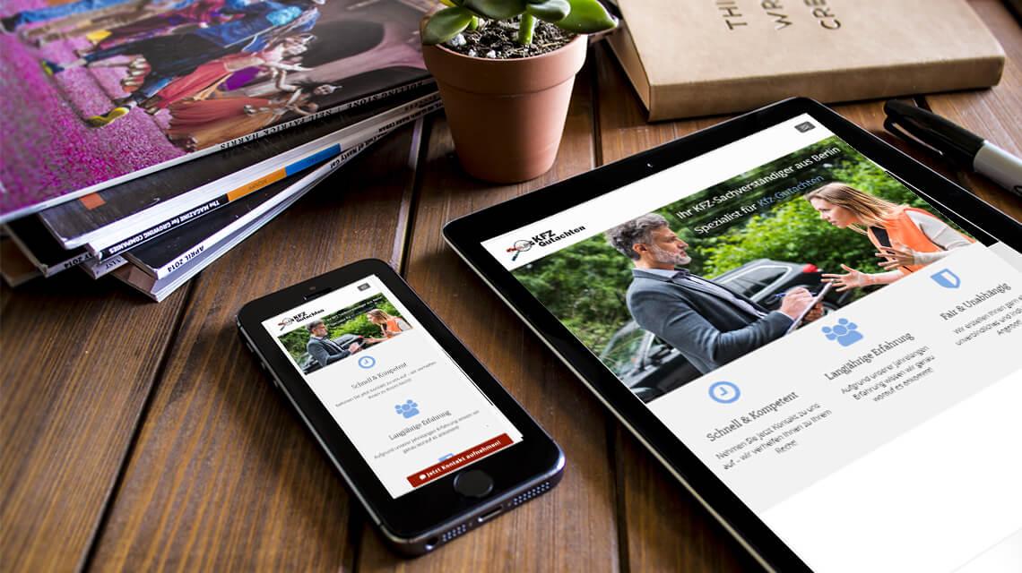 Kfz gutachten website, programmierung & SEO